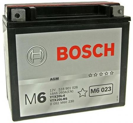 Аккумуляторная батарея Bosch Funstart AGM, 12 В, 18 А/ч, 260 А, 0092M60230