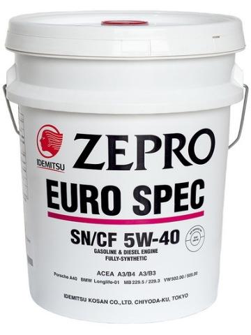 Масло моторное Zepro EURO SPEC, 5W-40, 20л, IDEMITSU, 1849020